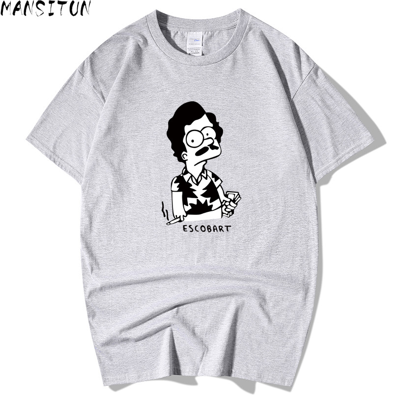 Men Trendy Melon Character Print Cotton Men   T     shirt   Narcos Pablo Escobar Funny   T  -  shirts   Short Sleeve Novelty Tops Tee Hipster