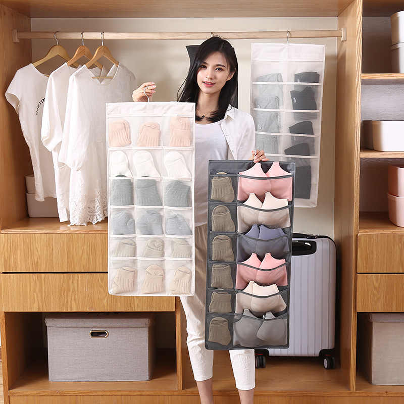 15/30 Grid Hanging Bag Organizers For Underwear Scarfs Socks Bra Various  socks Underwear Rack Hanger Storage Organizer| | - AliExpress