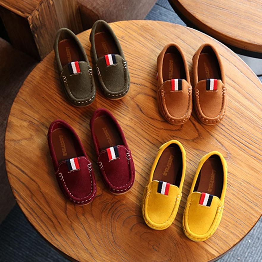 Children Infant Kids Girls Boys Solid Leather Patch Lazy Casual Shoes 0430