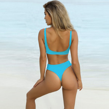Summer Bikini Women Spaghetti Strap High Waist Sexy Swimsuit Swimwear Womens new New Arrival Solid Tie Front Bikinis