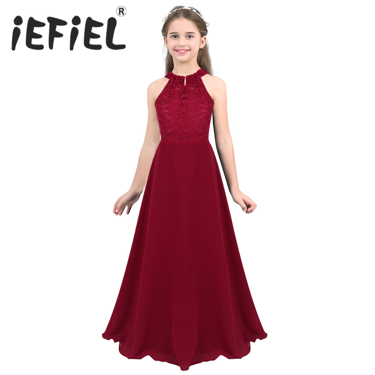Elegant Flower Girls Dress Children Wedding Party Princess Floral Lace Cutout Back Dress Girls Clothes Formal Occasion Dress(China)