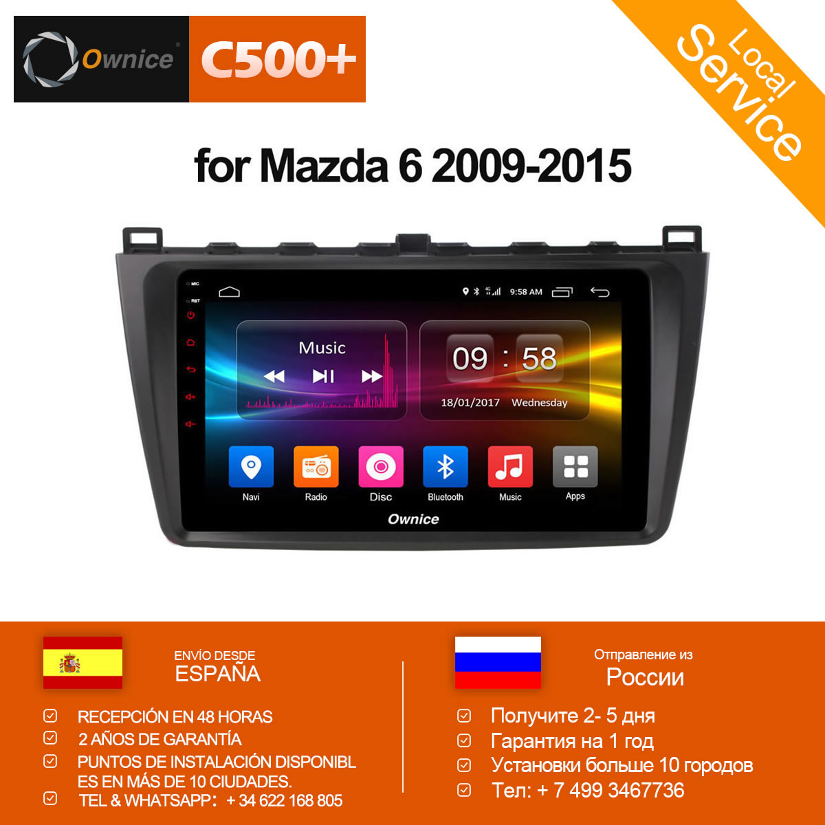 Ownice C500 + G10 Octa Core 2 gb RAM 32g ROM Android voiture dvd 8.1 gps Pour Mazda 6 sommet 2009-2015 wifi 4g LTE Radio DAB + DVR