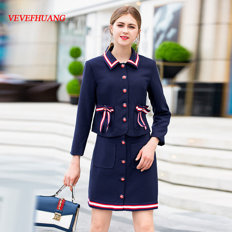 VEVEFHUANG High Quality Autumn New Two Piece Set Women's 3/4 Sleeve Single Breasted Bow Coat + Skirts Preppy Style Skirt Suit