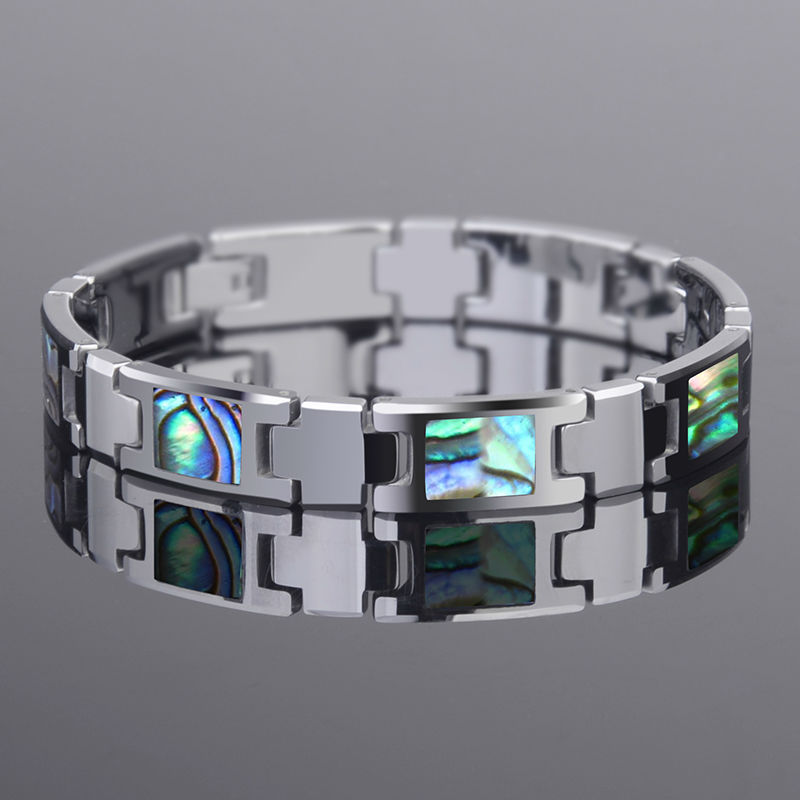 New Arrival 20CM Length Tungsten Carbide Bracelets Inlay Colorful Deep Sea Shells For Man s Fashion