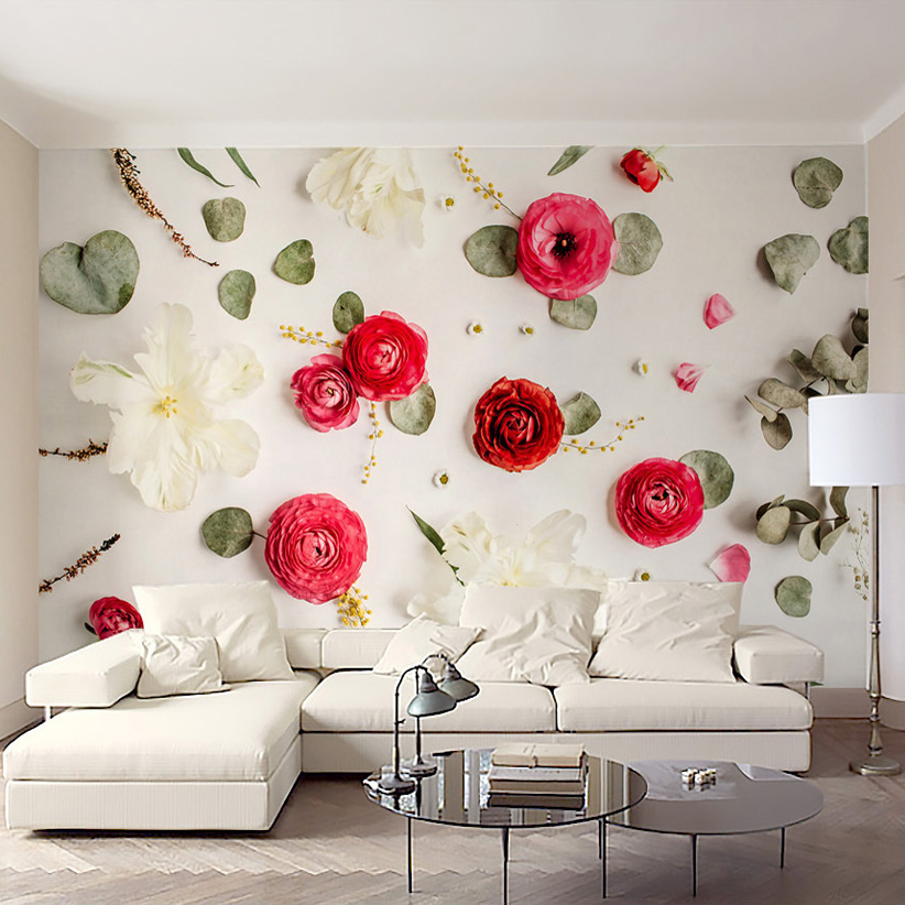 Custom Photo Wall Paper 3D Creative Art Wall Painting Romantic Rose Flowers Bedroom Bedside Living Room Sofa Background Decor