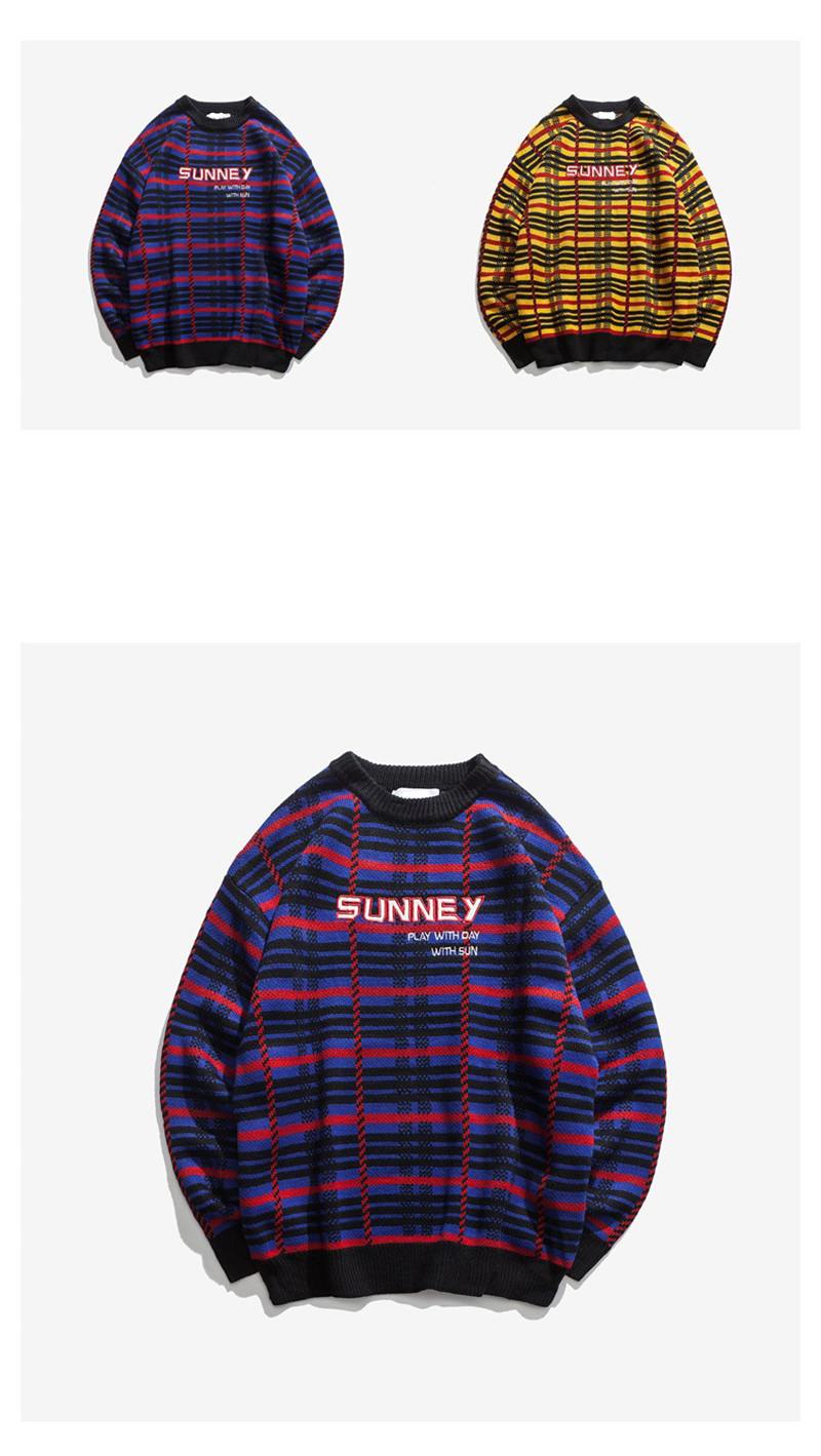 Knitted Harajuku Casual Embroidered Letter Plaid Sweater for Men Japanese Style Urban Boys Knit Pullover Jumper Plus Size M-XL 7