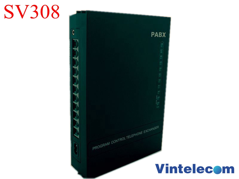 China PBX factory VinTelecom SV308 PABX Telephone Switch System with 3 Lines / 8 Ext. for small office phone system solution mini pabx pbx phone system phone switch 3 lines and 8 extensions sv308