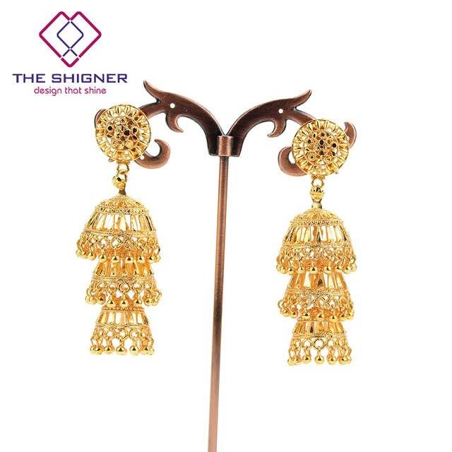 5a441834a Online Shop The Shigner Antique Ethnic Indian Golden Birdcage Jhumka.  Kajjara Nimah Gold Jhumka Online Jewellery Shopping ...