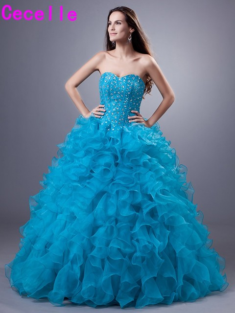 276296e510 Turquoise Ball Gown Quinceanera Dresses 2019 Sweetheart Ruffles Organza  Beaded Corset Girls Prom Party Gowns Dresses