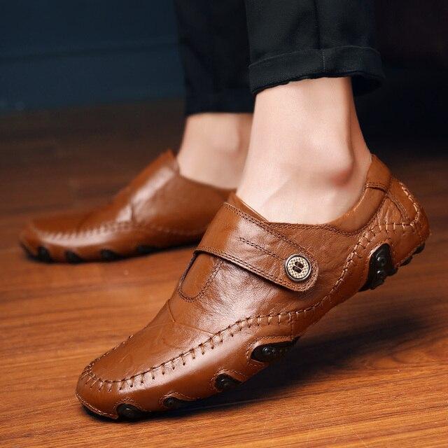 2016 zapatos del barco del Mens hombres holgazanes planos Del cuero Genuino zapatos de la Hebilla de La Correa De Goma Punta Redonda Negro/Marrón 38-44
