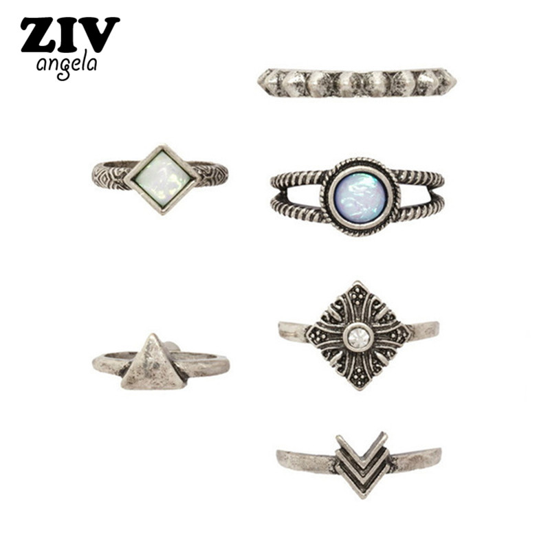 6PCS Ethnic Vintage Triangle Flower Rings Set Women Antique Silver Plated Crystal Stone Arrow Gearwheel Rings Fashion Jewelry