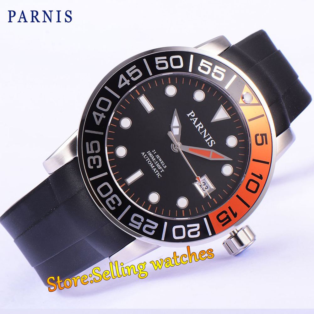 42mm Parnis Sapphire Rotating Bezel Automatic Watch Luminous Number Rubber Strap цена
