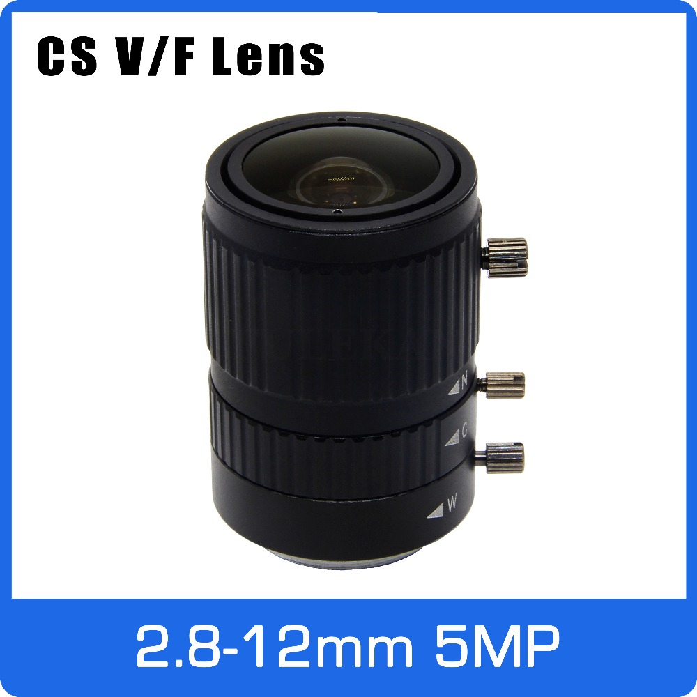 5Megapixel Manual IRIS 2.8-12mm Varifocal CCTV Lens 1/2.7 inch CS Mount For 1080P/3MP/5MP Box Camera IP/AHD Camera Free Shipping 8megapixel varifocal cctv 4k lens 1 1 8 inch 3 6 10mm cs mount dc iris for sony imx178 imx274 box camera 4k camera free shipping