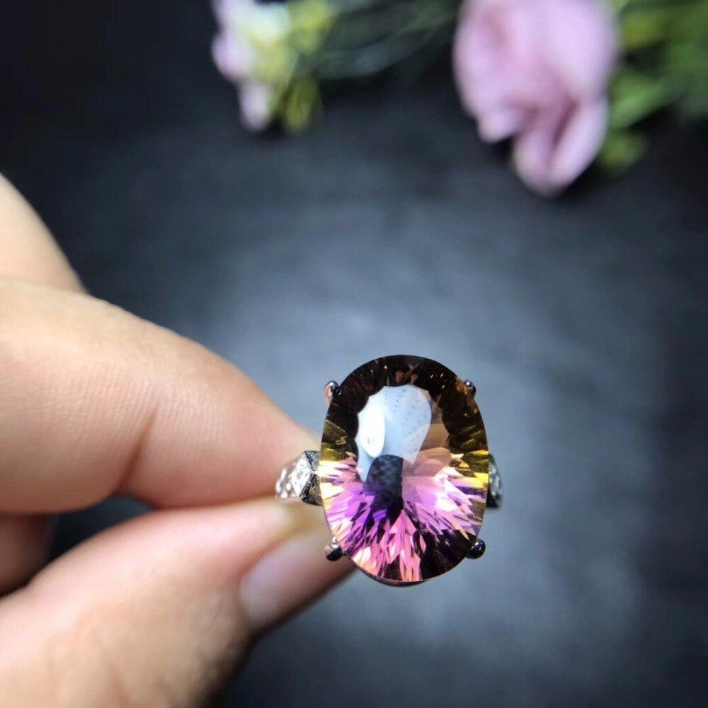 Uloveido Natuurlijke Ametrine Zeldzame Edelstenen Ring, Dames 925 Sterling Silver Wedding Ring voor Vrouwen Ring 20% off FJ293-in Ringen van Sieraden & accessoires op  Groep 3