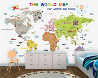 Beibehang Senior Interior Decoration Painting Aesthetic Personality Silk Cloth Papel De Parede 3d Wallpaper World Map