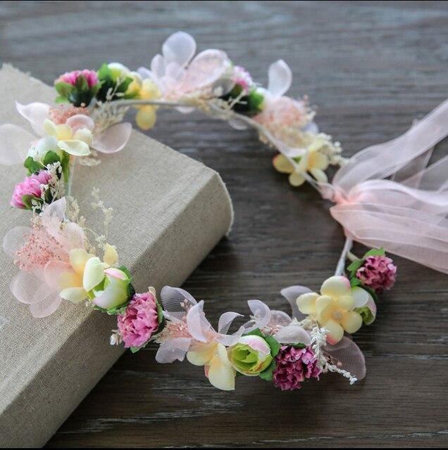 1 pcs Handmade Naturais Secas Flor Da Coroa Nupcial Do Casamento Cabelo Fascinator Partido Prom Mulher Meninas Acessórios de Cabelo Tecido Rosa Chá