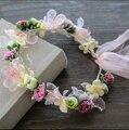 1pcs Handmade Dried Natural Flower Crown Wedding Bridal Hair Fascinator Party Prom Woman Girls Hair Accessories Fabric Tea Rose