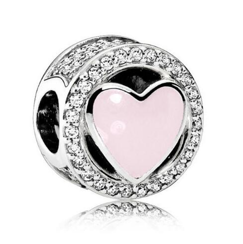 Authentic 925 Sterling Silver Wonderful Love Soft Pink Enamel Charms Fit Original Pandora Bracelet Diy Women Jewelry Making