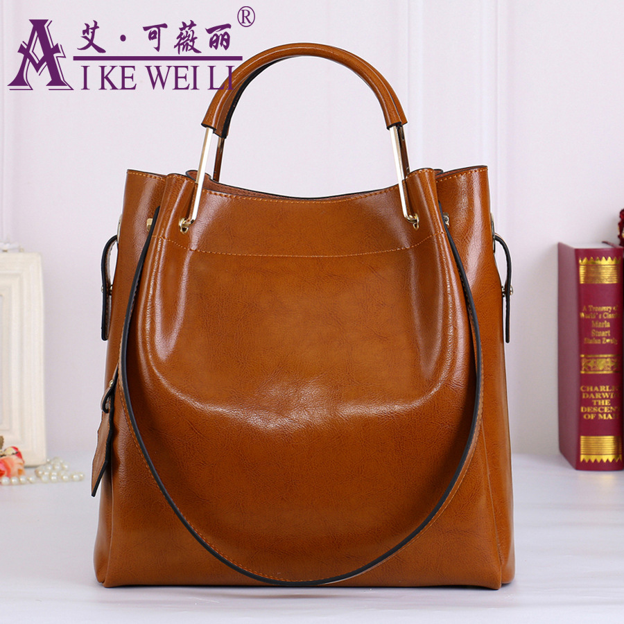 100% Genuine Leather Women's Handbag 2017 Beautiful Luxury Wax Cowhide One Shoulder large bag 2017 100