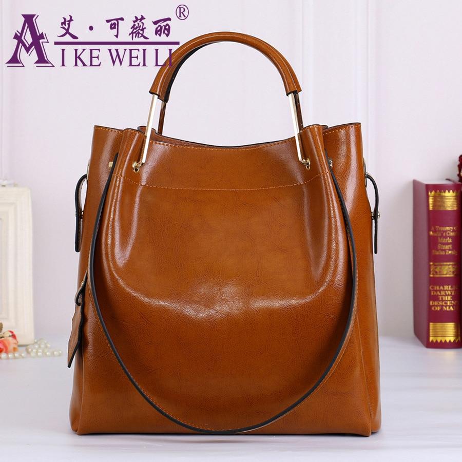 100 Genuine Leather Women s Handbag 2017 Beautiful Luxury Wax Cowhide One Shoulder large bag