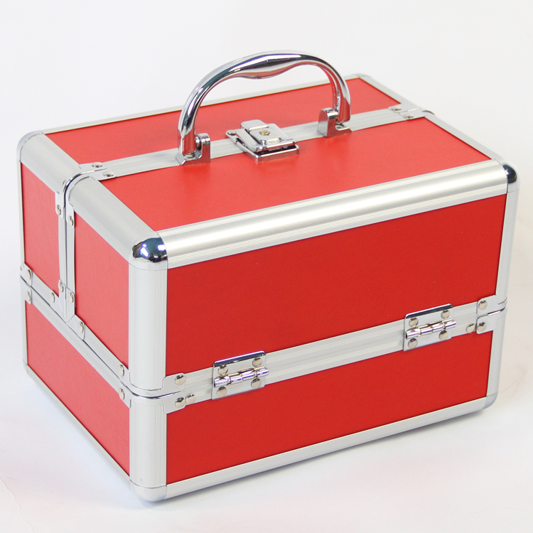 1PCS Red Color Jewelry Storage Box Portable Professional cosmetics Case, Travel Case Best Birthday Gift Organizador De Maquiagem