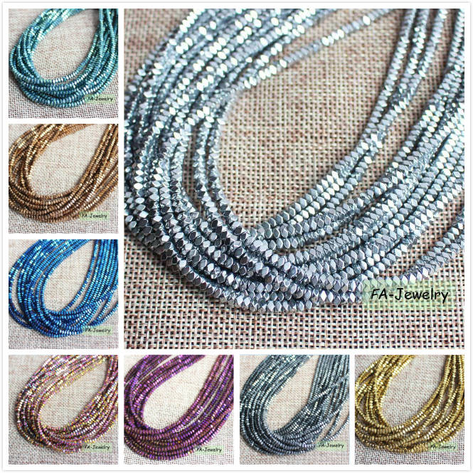 Natural Hematite plated color 2x3mm Faceted Rectangle Beads 15inch/180pcs per strand , ...