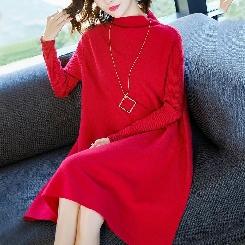 Femmes robe hiver lâche Style cachemire tricoté robes 2018 nouvelle mode automne chaud Long pull robe femme épais tricots - 2