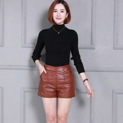 Women Sheepskin Winter Thick Leather Shorts K16