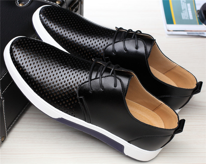 HTB1NBeMaUT1gK0jSZFhq6yAtVXaa Merkmak New Men Casual Shoes Leather Summer Breathable Holes Luxurious Brand Flat Shoes for Men