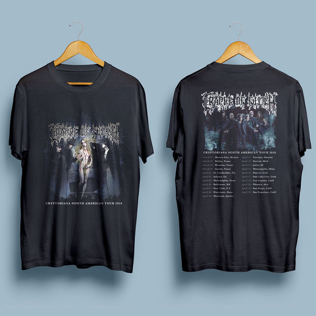 72ebcbddd02 Cradle Of Filth Cryptoriana North American Tour 2018 Gildan Black T-Shirt  S-XXL