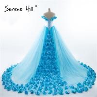 Vintage Handmade Rose Flowers Cloud Off Shoulder Boho Wedding Dresses 2018 Real Picture Ball Gown Serene Hill BHA2003