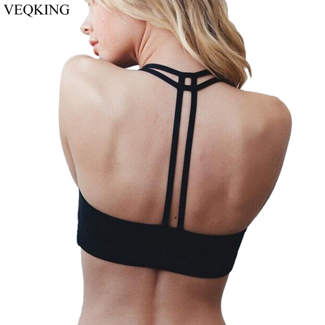 bdb7e6439bd77 VEQKING Strapped Back Sports Bra for Women Running Fitness Athletic Vest  Hollow Out Yoga Top Push Up Crop Tops Bra for Woman