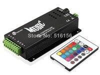 LED Musik Controller 24 keys 12v DC adapter ausgang 2 RGB gemeinsame anode für led streifen licht mit IR controller  schwarz shell|led music controller|music controller24 key -