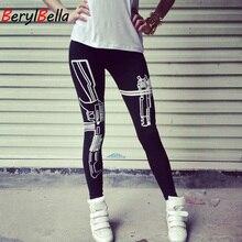 купить Cotton Winter Women Leggings 2019 Skinny Guns Printed Casual Stretch Black Leggings For Women Pencil Pants Female BerylBella по цене 564.66 рублей