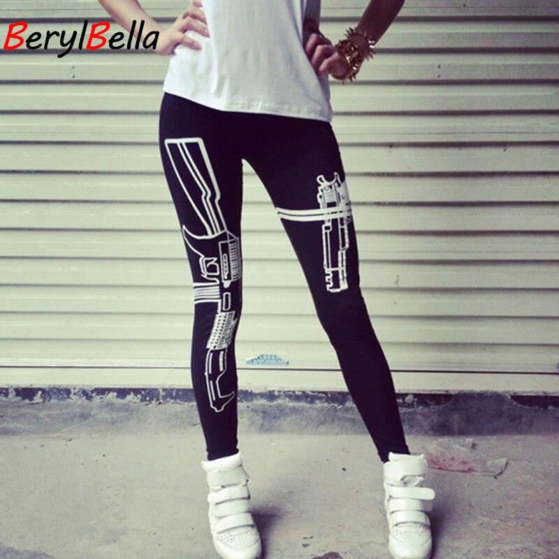 Cotton Winter Women   Leggings   2018 Skinny Guns Printed Casual Stretch Black   Leggings   For Women Pencil Pants Female BerylBella