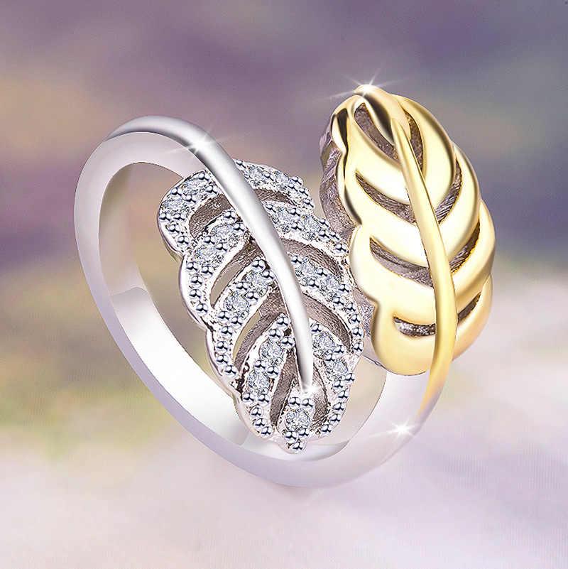 น่ารักหญิงขนาดเล็ก Plant Leaf แหวนแฟชั่นเงินสีทองแหวนสำหรับสตรี VINTAGE หมั้นแหวน