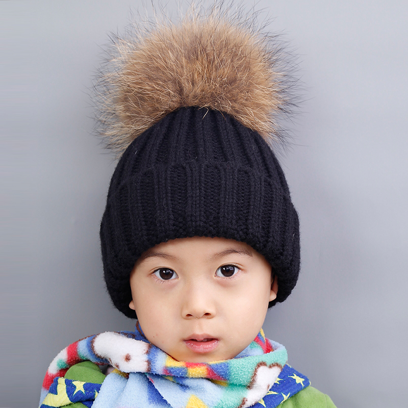 Baby Knitted Wool Hat Caps Raccoon Ball Pom Poms Winter Cotton Beanies Thick Children Fur Ball Cute Baby Boys Hats Family Cap skullies beanies newborn cute winter kids baby hats knitted pom pom hat wool hemming hat drop shipping high quality s30