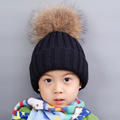 Baby Knitted Wool Hat Caps Raccoon Ball Pom Poms Winter Cotton Beanies Thick Children Fur Ball Cute Baby Boys Hats Family Cap
