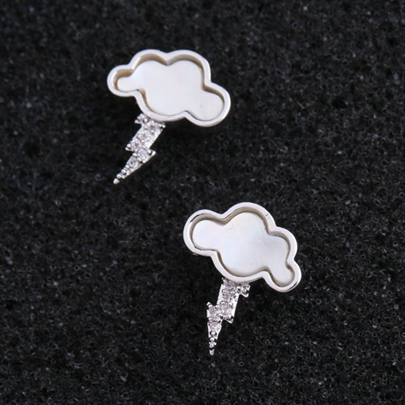 New Crystal Lightning Shell Cloud Fashion Earrings for Women Girls Stud Earrings
