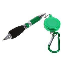 Зеленый раскладной держатель для бейджа Ручка Зажим для ремня и карабин