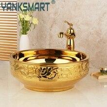 Раковина для ванной комнаты, золотой керамический санузел, кран для ванной, раковина для раковины, набор для ванны, комбинированный Твердый латунный смеситель, кран, набор