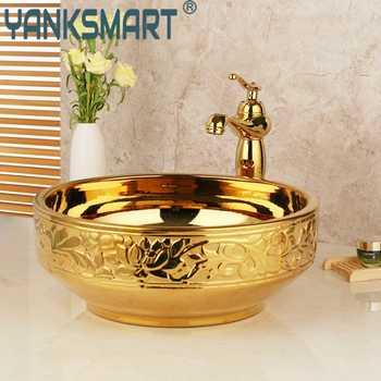 Bathroom Basin Sink Golden Ceramic Lavatory Bathroom Tap Washbasin Basin Sink Set Bath Combine Solid Brass Mixer Faucet Set - DISCOUNT ITEM  49 OFF Home Improvement