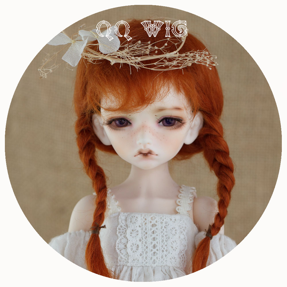 2017 New Arrival 1/3 1/4 1/6 Bjd Wig Msd Sd Yosd Lovely Two With Braid Fashion Mohair Hair Wig Free Shipping 1 6 yosd bjd wig guyomi mohair wig 6 7inch doll accessories