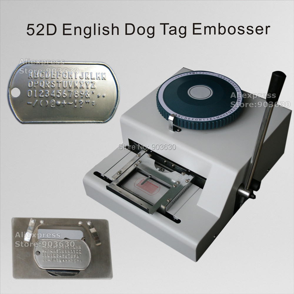 Factory Low Price 52 Characters Manual GI number plate stainless steel embossing machine Military Army Dog Tag embosser machine dog tag press machine manual 52 d characters for steel metal embossing in dog tag