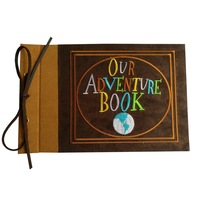 Embroidered Our Adventure Book, Suede Hardcover Scrapbook, 11.6 x 7.5 inch (Pattern A)
