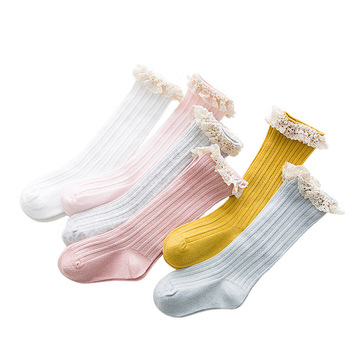 Free Shipping Children's Knee High Socks with Lace Cheap Stuff  Ruffle Socks Kid Princess Girls Baby Leg Warmers Cotton 1