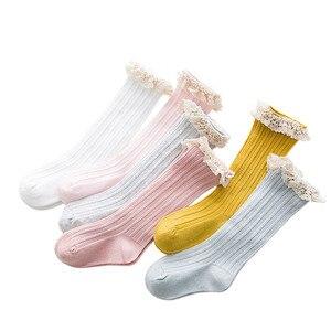 Free Shipping Children's Knee High Socks with Lace Cheap Stuff Ruffle Socks Kid Princess Girls Baby Leg Warmers Cotton