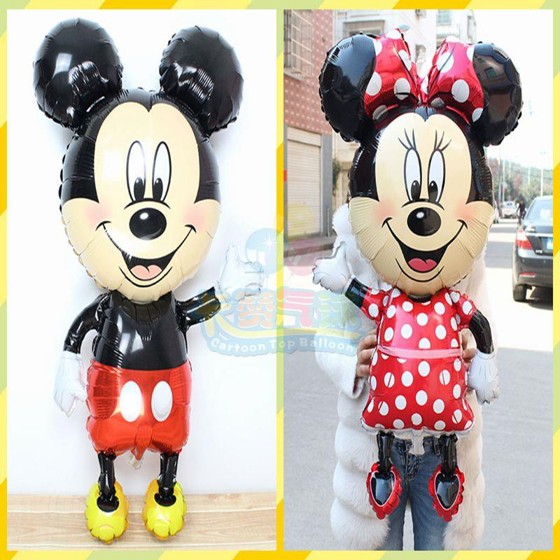 Mickey Minnie foil Balloons 2pcs lot large 110 64cm Red bowknot minnie Classic Toys Birthday Mouse Party Supplies Mickey ballon in Ballons Accessories from Home Garden