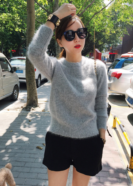 2020 Women Sweaters and pullovers Pure Mink Cashmere Knitted Pullover ladies sweater  Free Shipping TBWA645 3