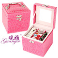 Guanya Latest fashion and leather square jewelry box wooden jewelry box makeup organizer wholesale and retail Free shipping